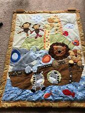 "SAFARI ANIMALS CRIB Quilt with Rattle Crib or Wall Hanging 45"" x 35"""