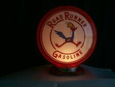 gas pump globe Road Runner & LIGHT STAND NEW reproduction 2GLASS LENSES