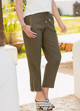 Lightweight and Fluid Khaki Cropped trousers with Gold Zip detail Size 14