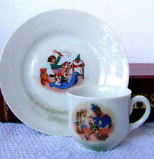 Antique Child's Tea Cup and Saucer or Demi-Tasse Set, Nursery Scene Cup & Saucer