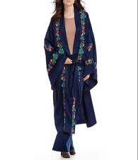 Retail $183 Free People Navy Blue Satin Floral Embroidered Kimono Robe Small