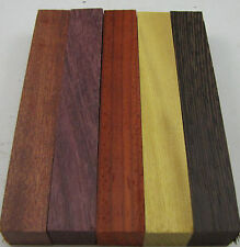 "Exotic Wood Pen Blanks ¾""x5"" Purpleheart, Wenge, Padauk, Bloodwood M-5"