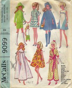 "McCall's 9099 Wardrobe for Barbie, Midge, Annette & 11.5"" Dolls Partially Cut"