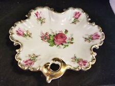 vintage leaf shaped porcelain dish with gold trim and rose pattern