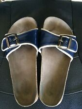 American Eagle Outfitters Womens Sandals Navy Blue Patent Leather Vintage Size 6