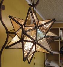 Antiqued Moorish Glass Star Lamp-Mexican Folk Art-Handmade-15 in-Large-Tin-NEW