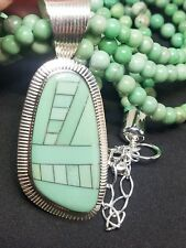 Jay King DTR Sterling Silver 3 Strand Beaded Necklace Large Inlay Pendant