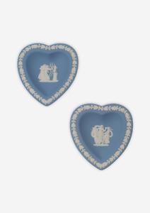 WEDGWOOD Jasperware   Pair Of Heart Shaped Trinket Dishes   1967   VGC   Rare