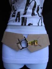 Women Chic Beige Wide Stretch Classic Belt Silver Metal Hole Hook Buckle S M