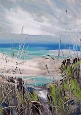 Coastal Grasses / Seascape Art. Original Acrylic Painting.