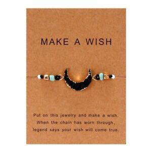 Handmade Make A Wish Natural Stone Moon Braided Bracelet Bangle Women Jewelry