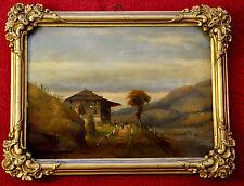 Ölbild,auf Blech gemalt,Romantiker,Bauernhaus j.d.Bergen,ca.1840,Originalrahmen