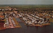 VTG POSTCARD PALM SHORES MOBILE HOME PARK AIRSTREAM WINNEBAGO LAKE ALFRED FL A98