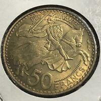 1950-A MONACO 50 FRANCS BRILLIANT UNCIRCULATED COIN
