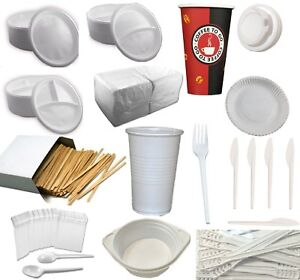 Wählbar:Weiß Einweg Plastik Geschirr Ess Besteck Menü Teller Becher Gabel Löffel