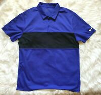 Nike Golf Standard Fit Polo Shirt Mens Large Blue/Black Dri-Fit Short Sleeve