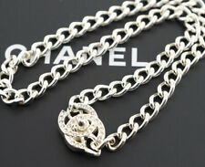 CHANEL CC Turnlock Chain Necklace Rhinestone Gold Tone Vintage d39