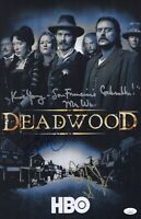Ian McShane DEADWOOD Cast X3 Signed 11x17 Photo IN PERSON Autograph JSA COA