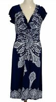 Caroline Morgan Womens Blue/White Floral Cap Sleeve Stretch Jersey Dress Size M