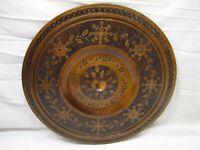 Vintage Ornate Hand Carved Wooden Platter Plate Polish Folk Art Inlaid Brass