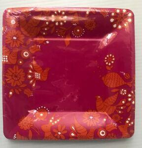 RARE 56! Jonathan Adler Pink Orange Disposable Paper Small Square Dessert Plates