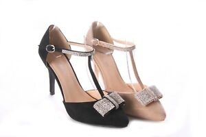LADIES WOMENS ANKLE STRAP DIAMONTE BOW EVENING SUMMER SANDALS SHOES SIZE 3-8