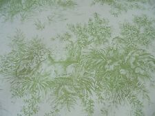 Fabric by the yard African Savannah GREEN Toile on Linen Lions Giraffes Zebras