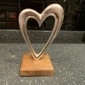 Silver Metal Heart Sculpture Wooden Base Side Table Windowsill Decor Ornament