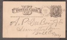 1883 Liberty postal card De Bruce Debruce NY to Livingston Manor