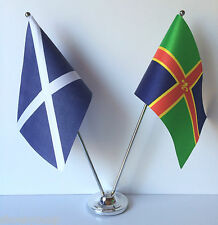 Scotland & Lincolnshire Flags Chrome and Satin Table Desk Flag Set