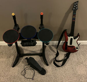 Band Hero Nintendo Wii Rock Band Drum Set W/ Pedal & Guitar Bundle TESTED