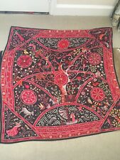 VINTAGE AUTHENTIC HERMES SILK & CASHMERE RED CHOC BROWN PINK SHAWL SUPER MINT