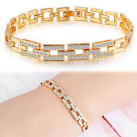 Womens Crystal Cubic Zirconia Gold Plated Bracelet Bangle Wristband Cuff Chain