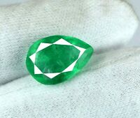Loose Gemstone 6-8 Carat Green Emerald Natural Zambian Pear Cut AGI Certified
