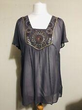 East Top UK 16 Beaded 100% Silk Sheer Grey Short Sleeve Sequins Embroidered