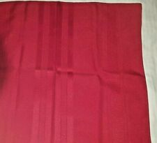 Red polyester damask stripe weave tablecloh 48 x 84 + 12 npkns 17 x 17 1/2 vtg