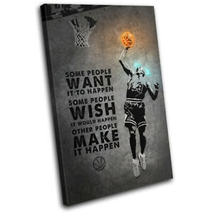 Basketball Jordan Quote Sports SINGLE CANVAS WALL ART Picture Print