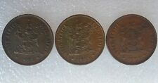 New ListingSouth Africa world coins lot of 3 - 2 cents, 1974. Wildebeest, bronze. Decent!