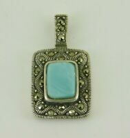 925 Sterling Silver Blue Mother Of Pearl & Marcasite Pendant