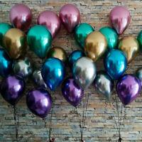 "12"" 10Pcs Metallic Chrome Balloons Birthday Wedding Party Decor Mix Color Xmas"