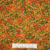 Fall Autumn Fabric - Tiny Leaves & Branches Packed - Timeless Treasures YARD