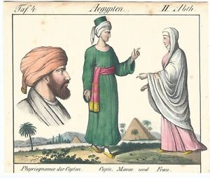Egypt, Copts, physiognomy, color. lithography ca. 1820