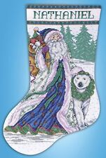 Santa And Polar Bear Holiday Christmas Stocking Counted Cross Stitch Kit