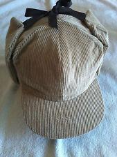 Vintage Corduroy Tie Top Winter Cap, Tan, Size 7-3/4, XXL Langenberg Hat Co, NEW