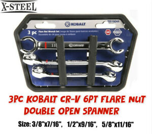 """Kobalt USA 3/8""""-11/16"""" 3pc SAE Imperial 6PT Flare Nut Double Open Spanner Wrench"""