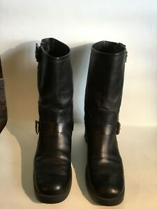 Michael Kors Women's Black Leather Mid Calf Boots Size 7M Buckle Details