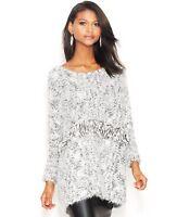 Bar III Women's Print Fringe Sweater Gray Combo Size XL