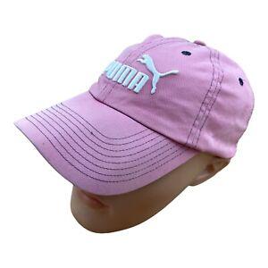 PUMA Embroidered Baseball Cap Hat Pink Spellout Vintage Sport Adjustable