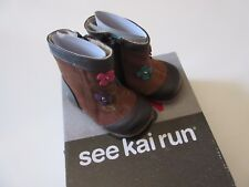NIB See Kai Run Perfidia in Camel Leather Suede Side Zip Boots 4 (Toddler)