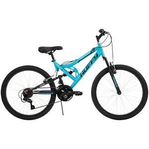 """Huffy 24"""" Trail Runner Girls Boys Full Suspension Mountain Bike Teal Blue new"""
